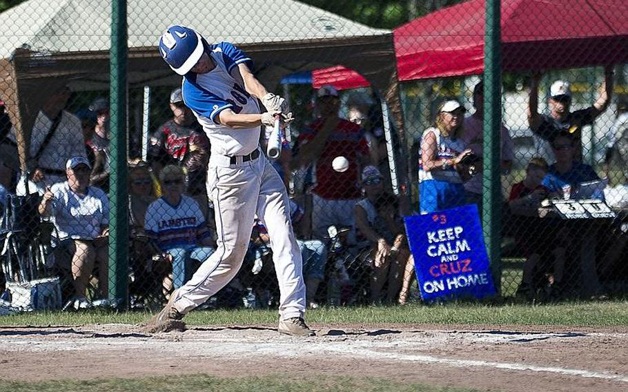 Ramstein's Reed Marshall gets a hit during the DODEA-Europe Division I baseball championship at Ramstein Air Base, Germany, on Saturday, May 27, 2017. Ramstein defeated Lakenheath 8-6 to win the title.