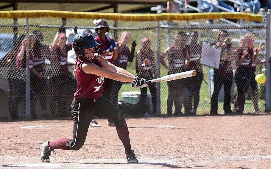 Vilsedk's Kayla Silden hits the ball in a game against Weisbaden during the first day of the softball championships in Kaiserslautern, Germany, Thursday, May 25, 2017.
