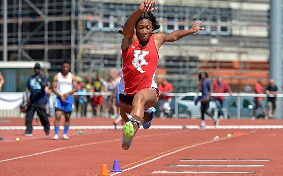 Kaiserslautern's Jada Branch set a new DODEA-Europe record in the triple jump with a leap of 39 feet, 2.25 inches at the DODEA-Europe track and field finals in Kaiserslautern, Germany, Saturday, May 27, 2017.  Michael Abrams/Stars and Stripes