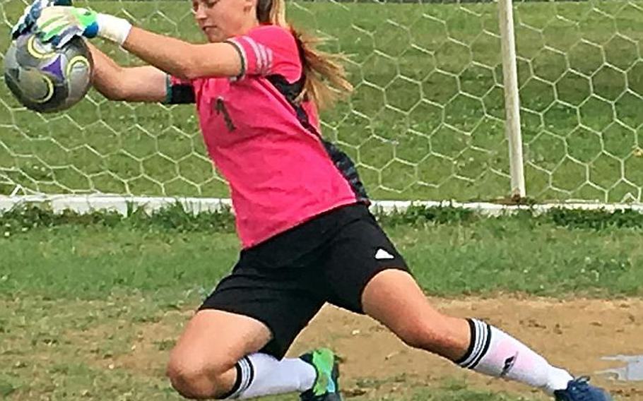 Kubasaki Dragons senior goalkeeper Lexi Klimek has rebounded from surgery after a facial injury last May during the Far East Division I Tournament.