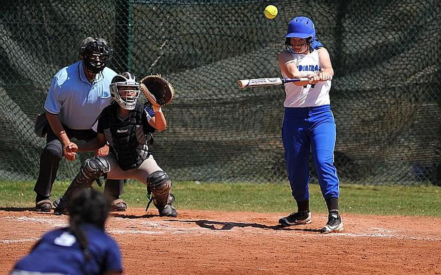 Rota's Elizabeth Lamb connects for an RBI hit in a game against Bitburg at the DODEA-Europe softball tournament in Ramstein, Germany, Thursday, May 25, 2017. Rota won 13-9.  Michael Abrams/Stars and Stripes