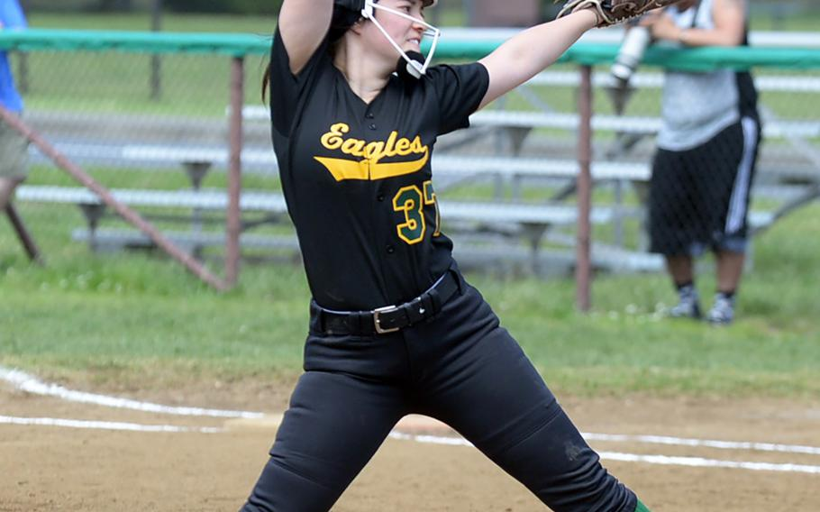 Robert D. Edgren's Brittany Crown had a busy two weeks. She struck out 82 batters in her last six games, including 17 in Saturday's DODEA Japan softball final, which the Eagles won 13-12 over Yokota.