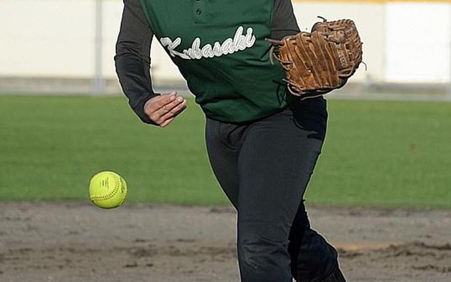 Olivia Witherow helped pitch Kubasaki to its first regular-season and Okinawa district finals titles in the same year. Now, it's on to Far East Division I, which the Dragons are also hoping to win for the first time.