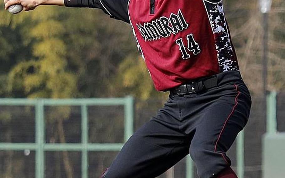 Senior right-hander Garrett Macias is the only one of three ace pitchers remaining for a Matthew C. Perry pitching staff. The Samurai begin defense of their Far East Division II Baseball Tournament title on Monday.