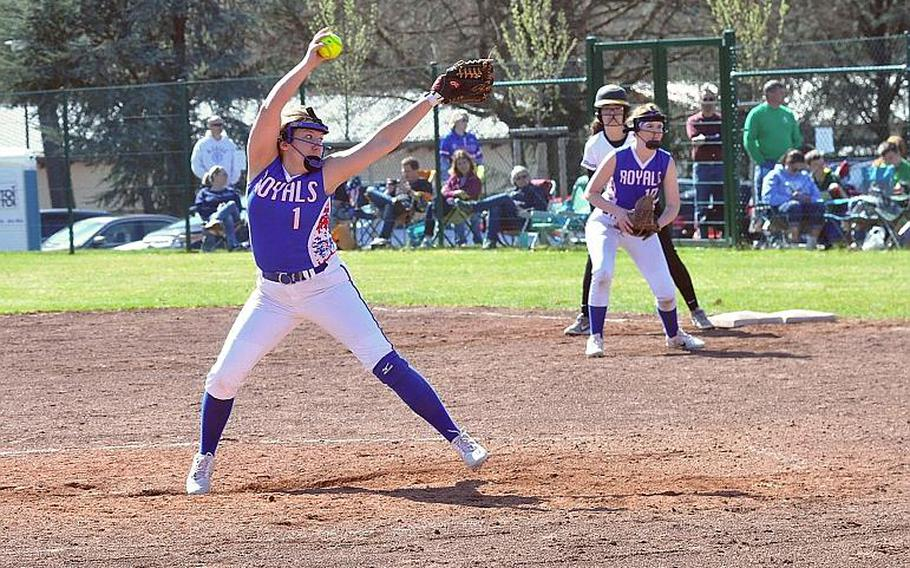 Ramstein pitcher Abby Walker readies a pitch in the Royals??? 15-6 defeat of the Stuttgart Panthers on Saturday, April 14, 2018 at Ramstein Air Base.   Gregory Broome/Stars and Stripes