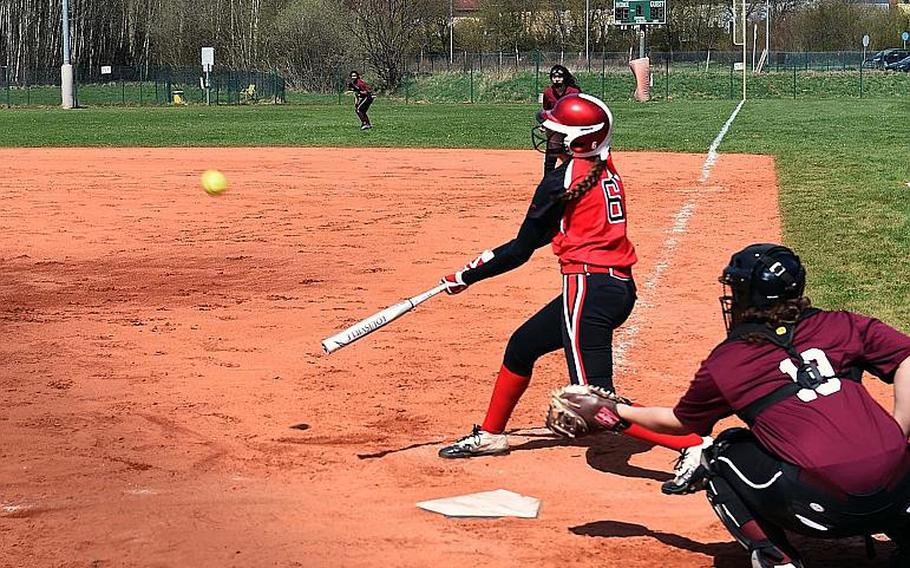 Kaiserslautern's Abby Young hits a ball during a game at Vilseck, Germany, Saturday, April 14, 2018.