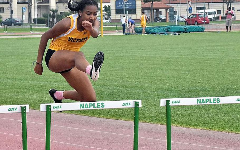 Vicenza's Brandy James cruises to a victory in the 300-meter hurdles on Saturday May 12, 2018. James also won the 100 hurdles.