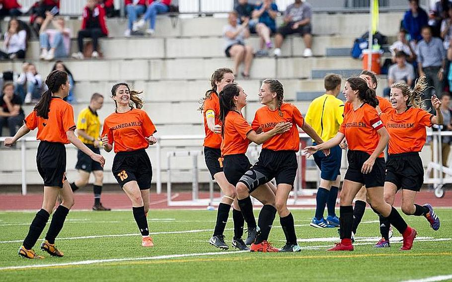 Spangdhalem celebrates a 2-0 victory over Rota to win the DODEA-Europe Division II soccer championship in Kaiserslautern, Germany, on Thursday, May 24, 2018.