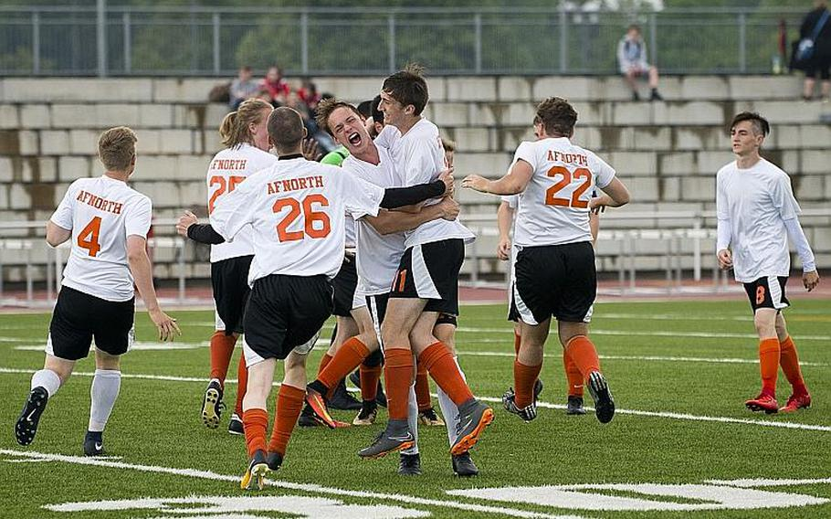 AFNORTH celebrates a 2-1 victory over Marymount to win the DODEA-Europe Division II soccer championship in Kaiserslautern, Germany, on Thursday, May 24, 2018.