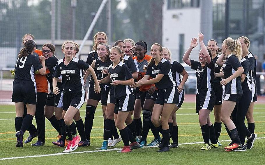 Stuttgart celebrates a 6-5 victory over Ramstein after a shootout to win the DODEA-Europe Division I soccer championship in Kaiserslautern, Germany, on Thursday, May 24, 2018.