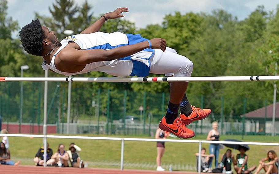 Wiesbaden's Markez Middlebrooks jumped 6 feet, 1 inch, to win the boys high jump competition at the 2018 DODEA-Europe track and field championships in Kaiserslautern, Germany.