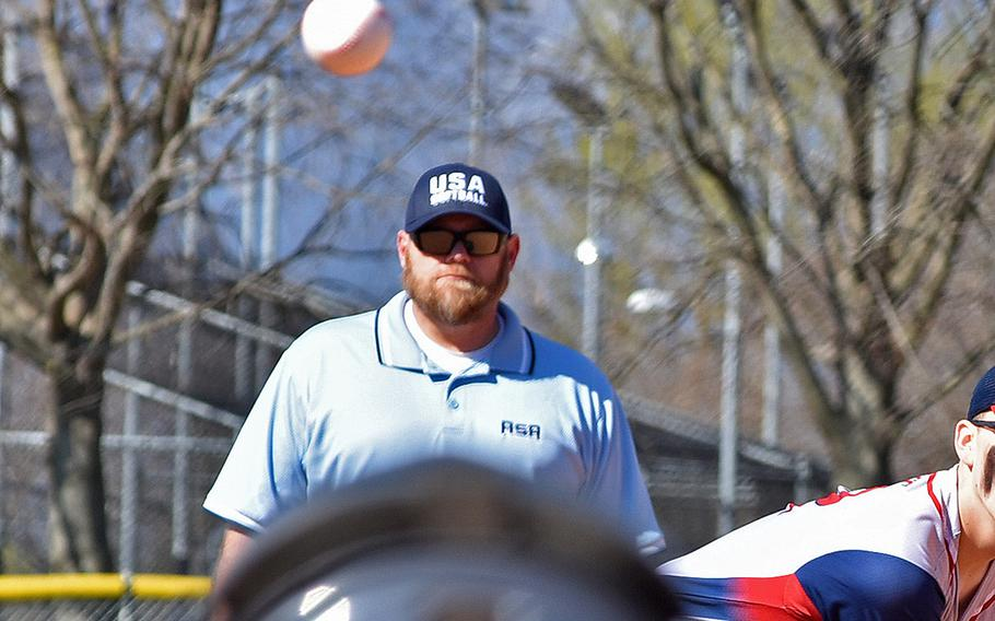 Chris Heisig umpires a game between Aviano and Ansbach on March 29, 2019. Heisig died Saturday, April 27.