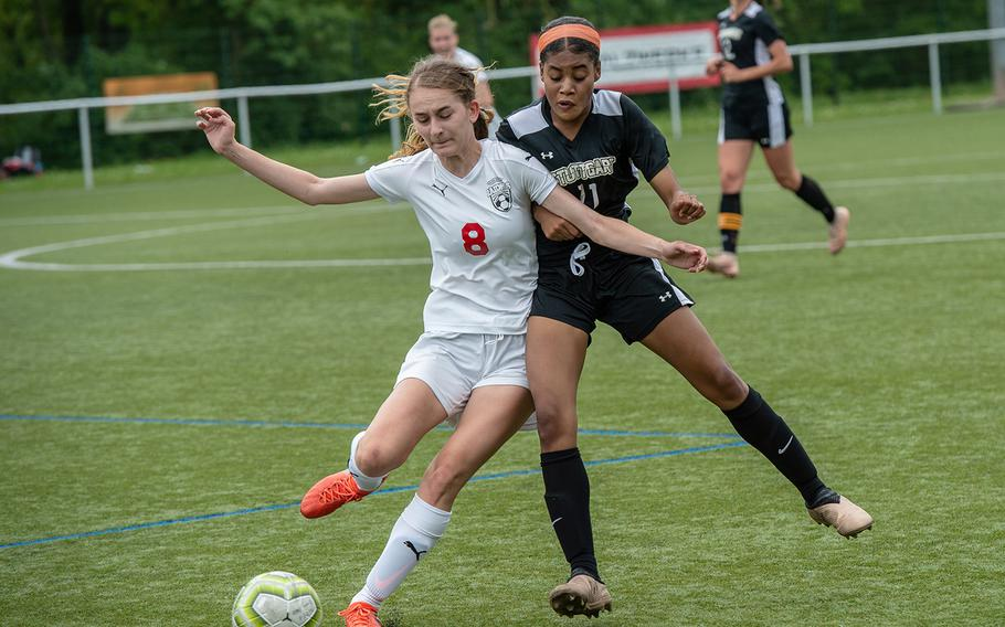 Kaiserslautern's Angelina Popovic and Stuttgart's Bettina Wagner battle for control of the ball during the first day of the DODEA-Europe soccer championships, Monday, May 20, 2019.