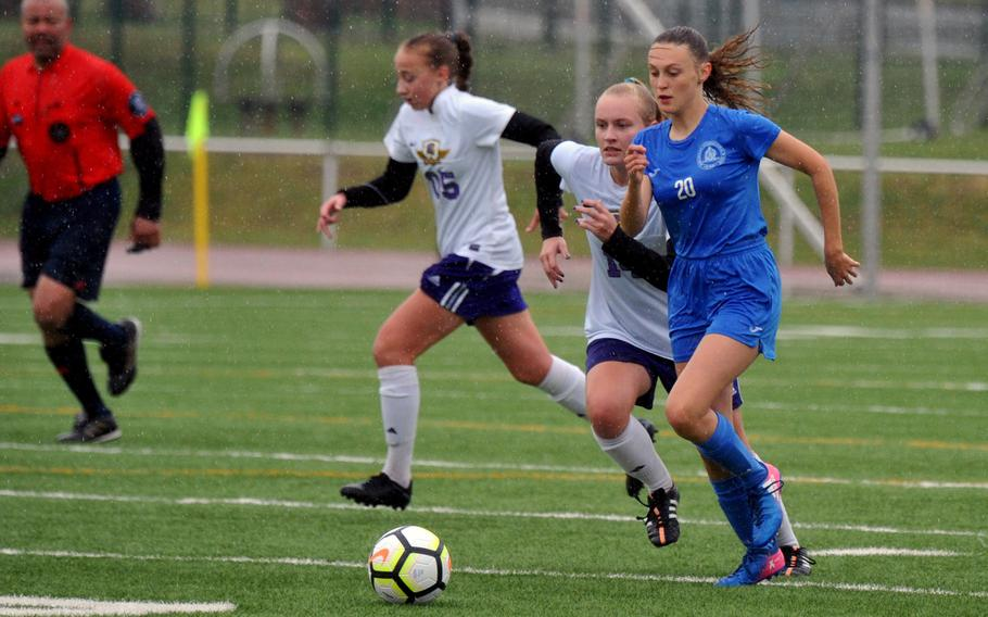 Marymount's Dana Hoeffner takes the ball upfield against Bahrain's Bella Mundy in a Division II game in Kaiserslautern, Tuesday, May 21, 2019. Marymount won 2-0.