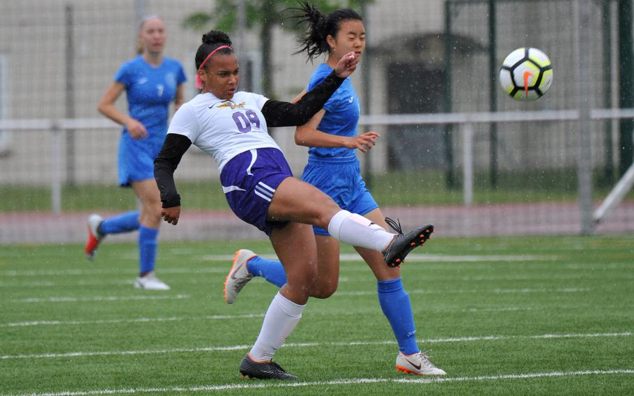 Bahrain's Noor Khoury sends the ball upfield against Marymount's Eri Ishii in a Division II game in Kaiserslautern, Tuesday, May 21, 2019. Marymount won 2-0.