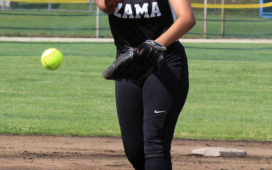 Zama senior right-hander Litzie Figueroa tossed a no-hitter and drove in four runs in the Trojans' 19-2 rout of E.J. King on Wednesday, Day 1 of the Far East Division II softball tournament.