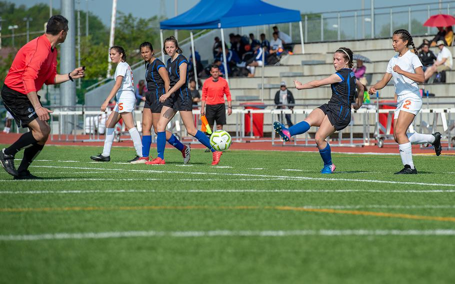 Hohenfels' Nicole Serrano crosses the ball during a game against Spangdahlem in the girls Division III DODEA-Europe soccer championship game, Thursday, May 23, 2019. Spangdahlem won the game 4-2.