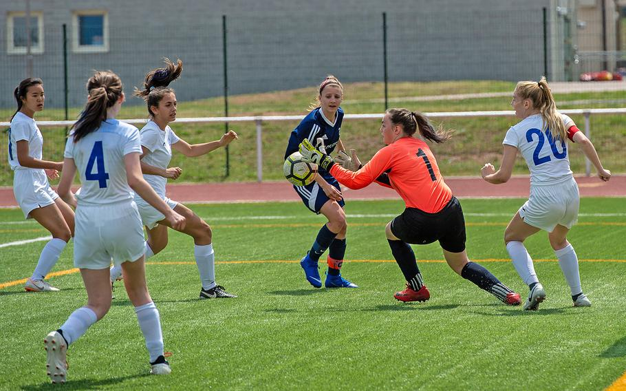 Marymount goalie Romana Bardetti grabs the ball during the girls Division II DODEA-Europe soccer championship game against BFA, Thursday, May 23, 2019. BFA won the game 5-0.