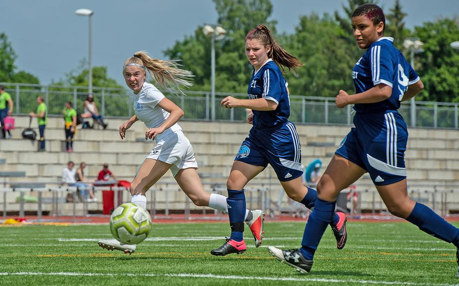 Marymount's Alba Gulino takes a shot on goal during the girls Division II DODEA-Europe soccer championship game against BFA, Thursday, May 23, 2019. BFA won the game 5-0.