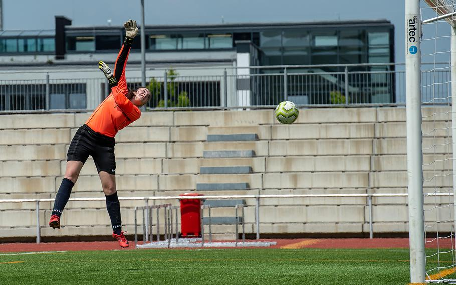 Marymount goalie Romana Bardetti just misses the ball during the girls Division II DODEA-Europe soccer championship game against BFA, Thursday, May 23, 2019. BFA won the game 5-0.