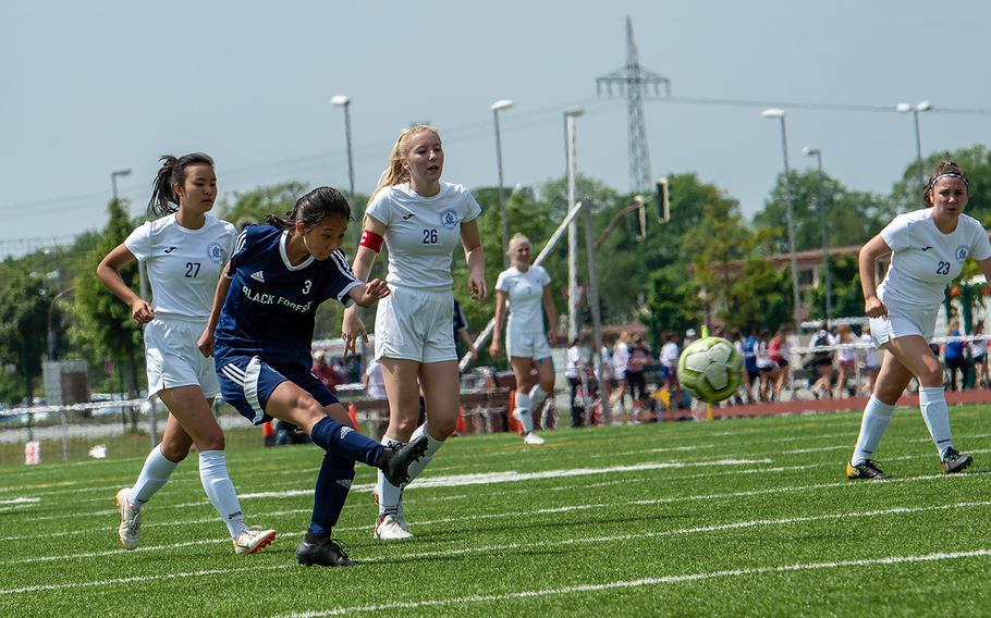 BFA's Yewon Park shoots and scores during the girls Division II DODEA-Europe soccer championship game against Marymount, Thursday, May 23, 2019. BFA won the game 5-0.