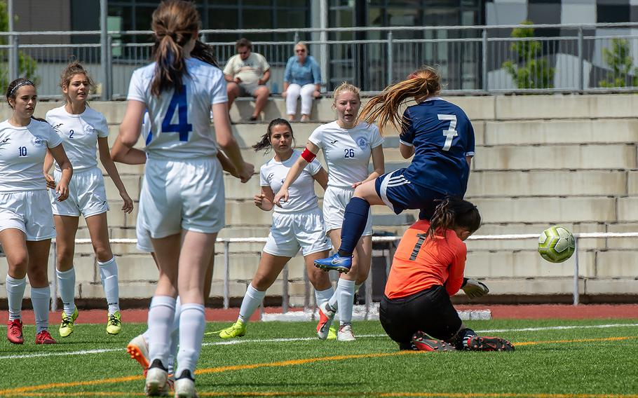 Marymount goalie Romana Bardetti and BFA's Melody Miller collide as they go for the ball during the girls Division II DODEA-Europe soccer championship game against BFA, Thursday, May 23, 2019. BFA won the game 5-0.