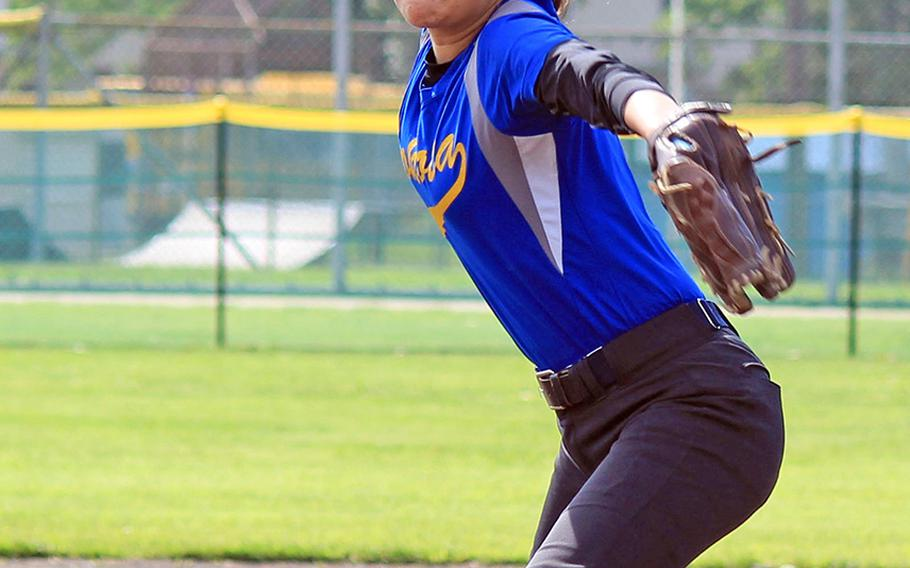 Yokota senior Adrianna Diaz became the second pitcher to throw a no-hitter in as many days of the Far East Division II softball tournament in a 10-0 win over E.J. King.