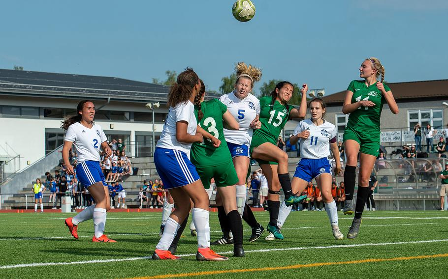 Naples and Wiesbaden player go for the ball during the girls Division I DODEA-Europe soccer championship game, Thursday, May 23, 2019. Wiesbaden won the game 2-0.