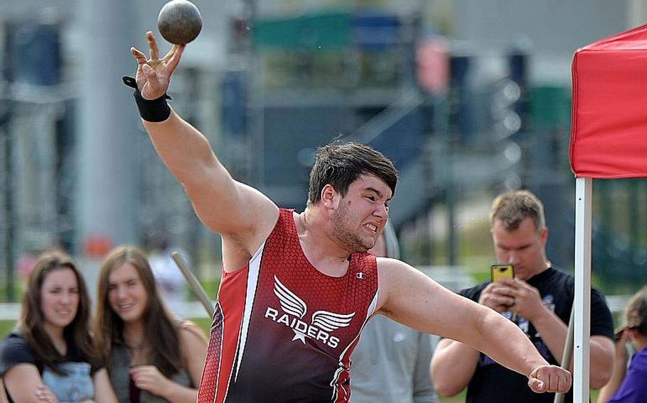 Kaiserslautern's Austin Higby defended his title in the boys shot put event with a toss of 48 feet, 8 inches at the DODEA-Europe track and field finals in Kaiserslautern, Saturday, May 25, 2019.