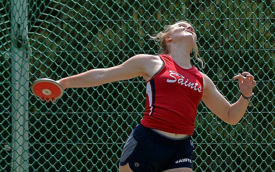 After winning the shot put competition on Friday, Aviano freshman Elizebeth Woodruff also took the discus title at the DODEA-Europe track and field finals Saturday, with a throw of 117 feet.