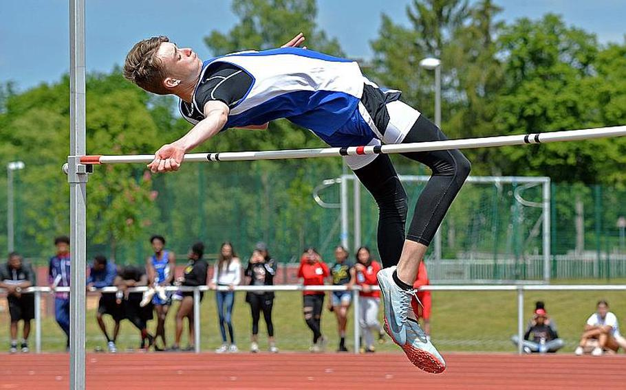Rota's Callum Wilkerson won the high jump with a leap of 6 feet, 1 inch. Wiesbaden's Markez Middlebrookes jump the same height, but Wilkerson won with less failed attempts at a lower height.