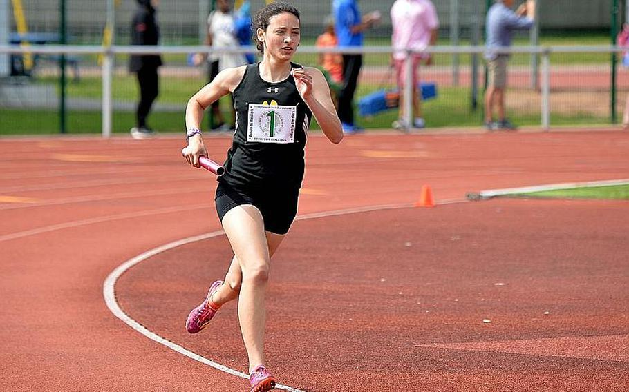 Tatiana Smith anchors Stuttgart's winning 4x800-meter relay team at the DODEA-Europe track and field finals in Kaiserslautern, Saturday, May 25, 2019. Smith and teammates McKinley Fielding, Maci Hanes and Linnea Meier won in 10 minutes, 2.43 seconds.