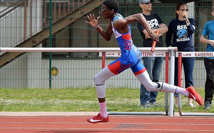 Ramstein's Jeremiah Allen runs the 400-meter leg of the 1,600-meter sprint medley at the DODEA-Europe track and field finals in Kaiserslautern, Saturday, May 25, 2019. Allen and teammates Isaiah Allen, Jaelaun Bell  and Denver Dalpias won the race at the DODEA-Europe track and field finals in Kaiserslautern, Saturday, in 3 minutes, 44.66 seconds.
