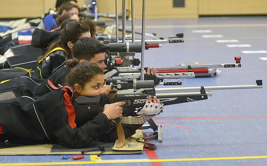 Competitors prepare to fire at their individual targets while competing in the 2019 European Marksmanship Championships, in Wiesbaden, Germany, last February. This year's finals are in Kaiserslautern, on Saturday.