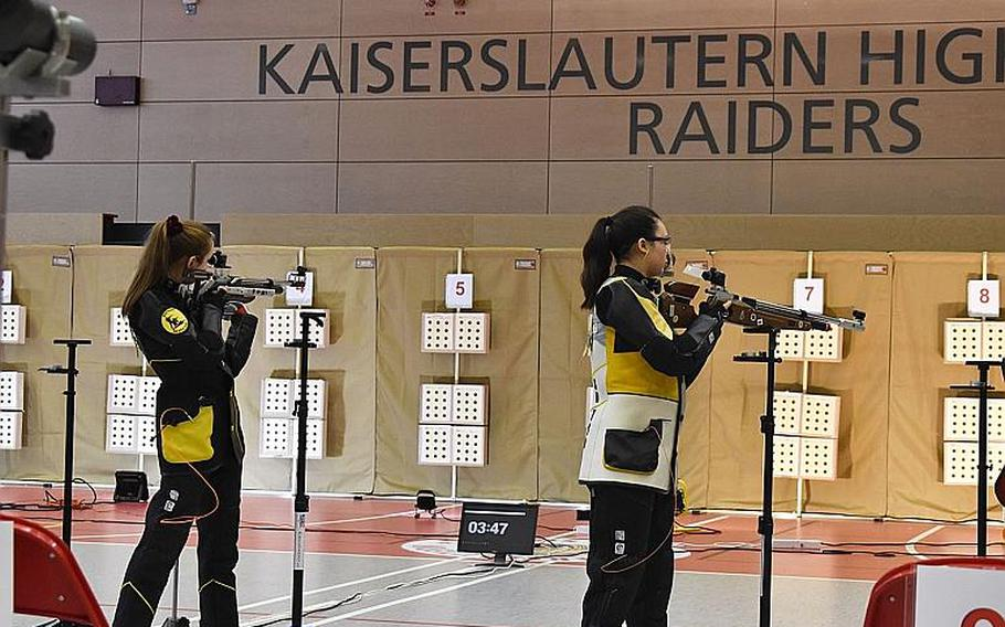 Stuttgart shooters line up shots from standing position in the 2019-20 DODEA-Europe marksmanship championship meet Saturday at Kaiserslautern High School.  The Stuttgart Panthers beat out the host Raiders for their seventh straight title.