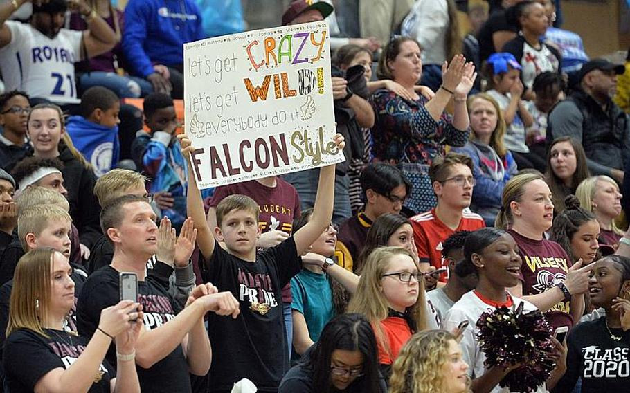 A Vilseck fan shows how it is done, as the Falcons defeated the Ramstein Royals 56-42 in the Division I final at the DODEA-Europe basketball championships in Wiesbaden, Germany, Saturday, Feb. 22, 2020.