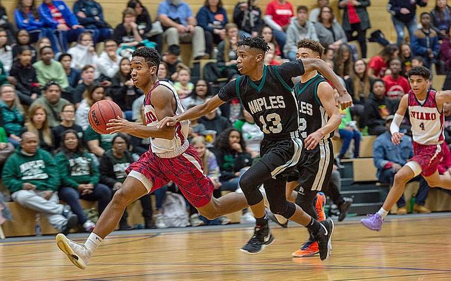 Aviano's Donavin Robinson breaks away on a fast break during the DODEA-Europe 2020 Division II Boys Basketball Championship game against Naples at Wiesbaden High School, Germany, Saturday, Feb. 22, 2020. Naples won the game 40-35.