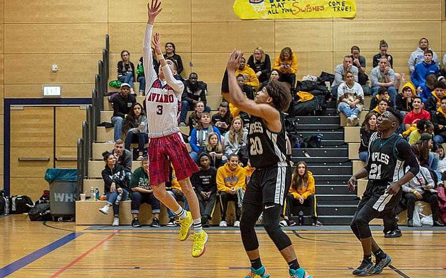 Aviano's Zachary Villa goes in for an easy lay-up during the DODEA-Europe 2020 Division II Boys Basketball Championship game against Naples at Wiesbaden High School, Germany, Saturday, Feb. 22, 2020. Naples won the game 40-35.