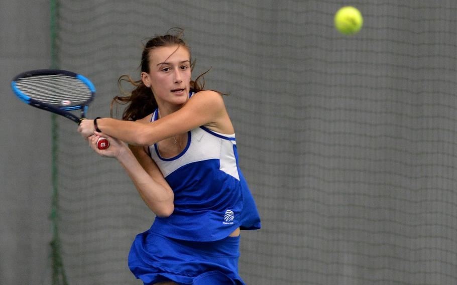 Charlotte Kordonowy returns a shot in the girls singles final at the DODEA-Europe tennis championships in Wiesbaden, Germany in October 2019. Only tennis singles will be played in DODEA-Europe this season due to coronavirus concerns.