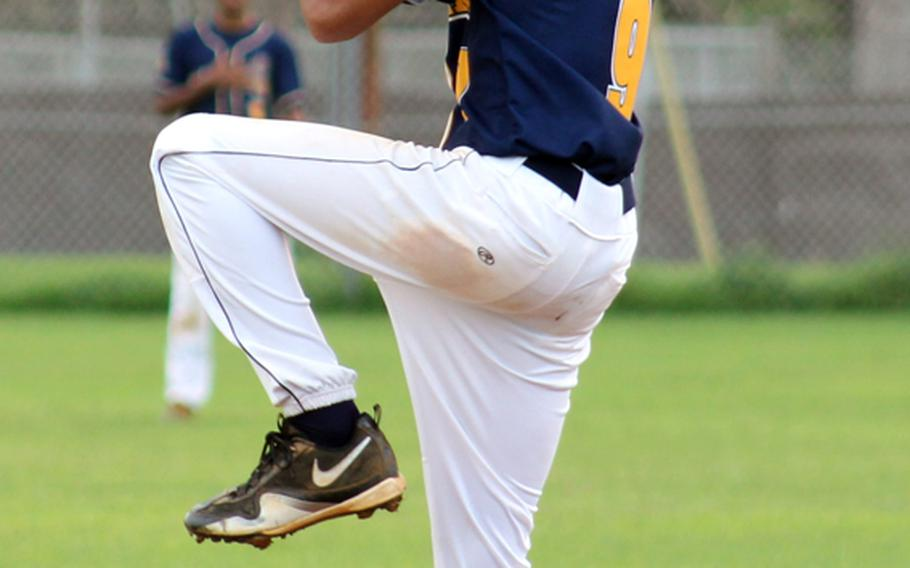 Guam High Panthers right-hander Eddie Rey Garza delivers against the George Washington Geckos during the Independent Interscholastic Athletic Association of Guam baseball game Nov. 12, 2012, at Guam High School. Garza scattered 12 hits and 2 walks and struck out 6 and got the win 4-3 over the Geckos.