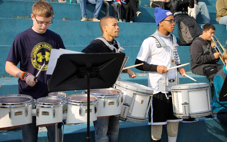 Members of Seoul American High School's band play for the crowd during Saturday's Korea Army-Navy flag football rivalry game at Yongsan Garrison, South Korea. The soldiers routed the sailors 62-0, improving to 14-3 in the Peninsula Trophy series.