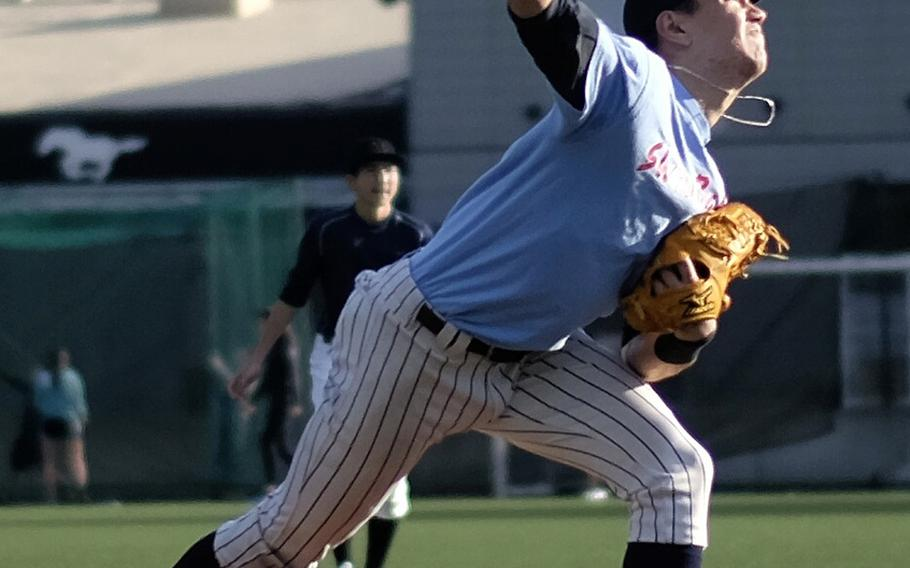 American School In Japan pitcher Tyler Shapsford throws during a team scrimmage Wednesday in Chofu, Japan. ASIJ is the returning Far East Division I champion.