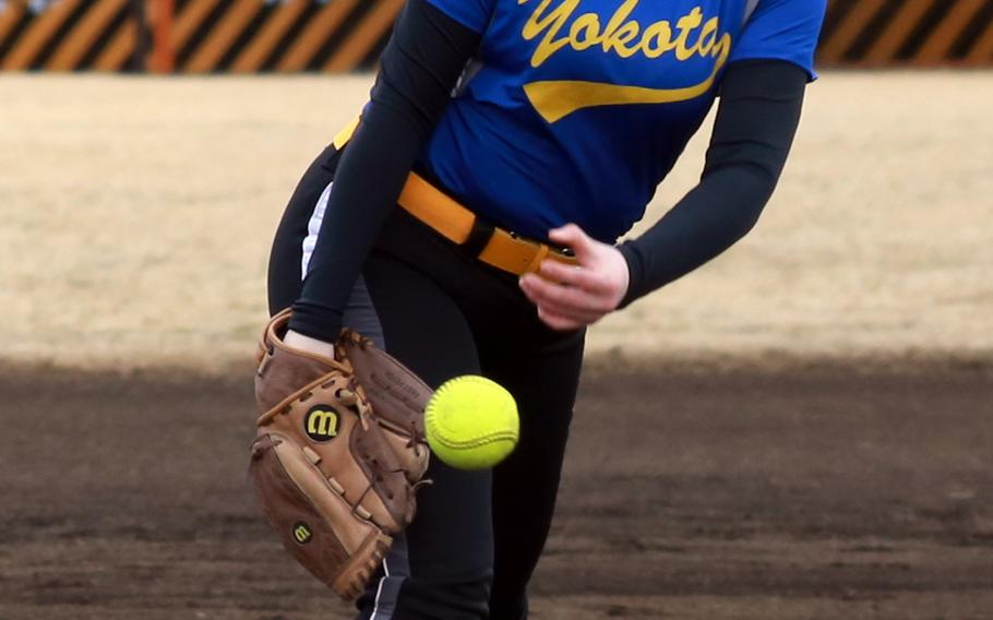 Yokota Panthers left-hander Anysia Torres delivers against Robert D. Edgren during Friday's DODDS Japan season-opening softball game at Yokota Air Base, Japan. Torres got the win and the Panthers won 18-3 in three innings.