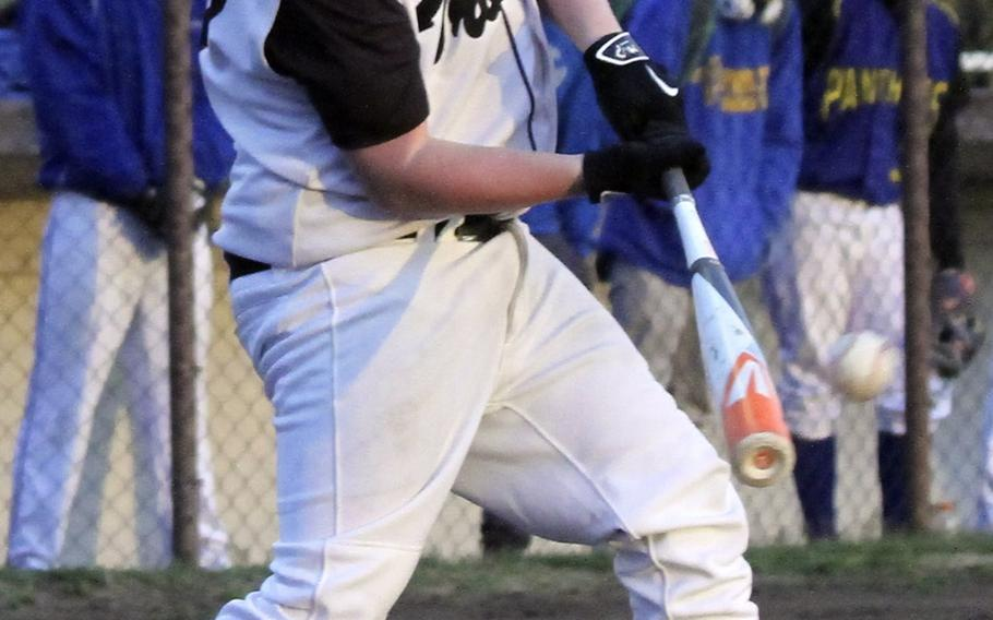 Zama's Tristan Berlemont takes his cuts against Yokota during Tuesday's DODDS Japan/Kanto Plain baseball game. The host Trojans edged the Panthers 3-1 in a pitchers' duel as Yokota's Leo Austin and Zama's Keiyl Sasano combined for 24 strikeouts.