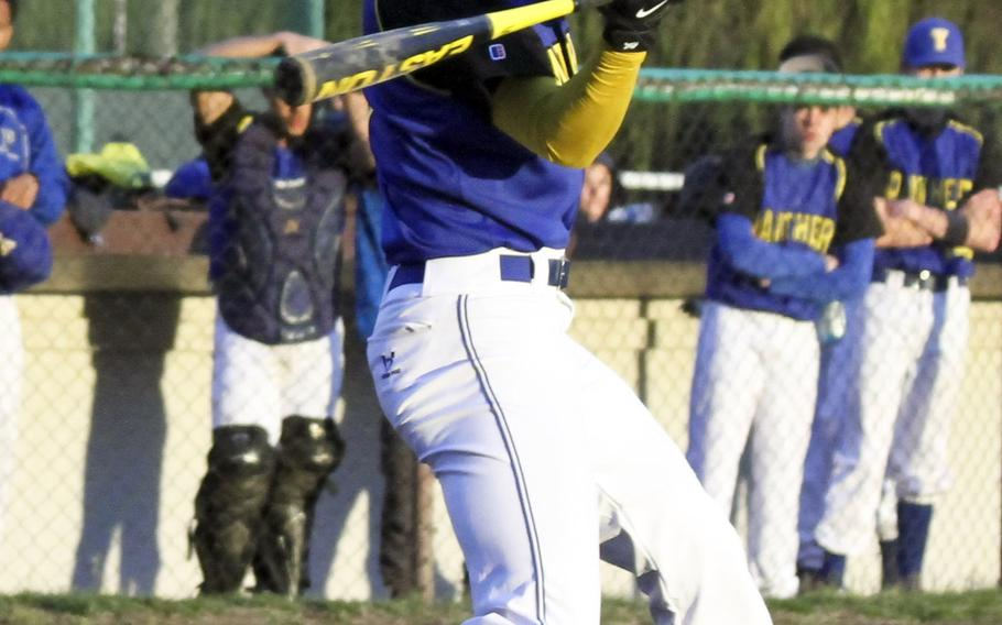 Yokota's Marcus Henagan gets in his cuts against Zama during Tuesday's DODDS Japan/Kanto Plain baseball game. The host Trojans edged the Panthers 3-1.