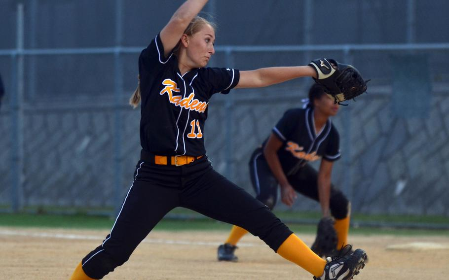 Kadena sophomore right-hander Macalah Danielsen delivers against Kubasaki during Thursday's Okinawa softball game. Danielsen gave up one hit, one earned run, one walk, hit two batters and struck out seven in relief, but the Panthers lost to the Dragons 5-4.