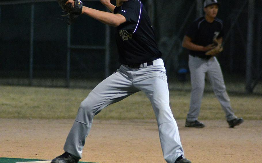 Kubasaki pitcher P.J. Washam readies the call for a pitch against Seoul American on Friday. Kubasaki won 14-7.