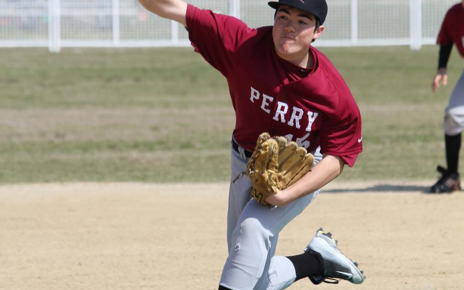 Matthew C. Perry right-hander Peace Gates delivers against Yokota during Saturday's DODDS Japan baseball game. The Panthers won 8-2.
