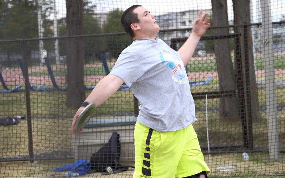 Yokota's Chris Sonnenberg works on his form in the discus during the World Records Camp at Yokota Air Base, Japan.