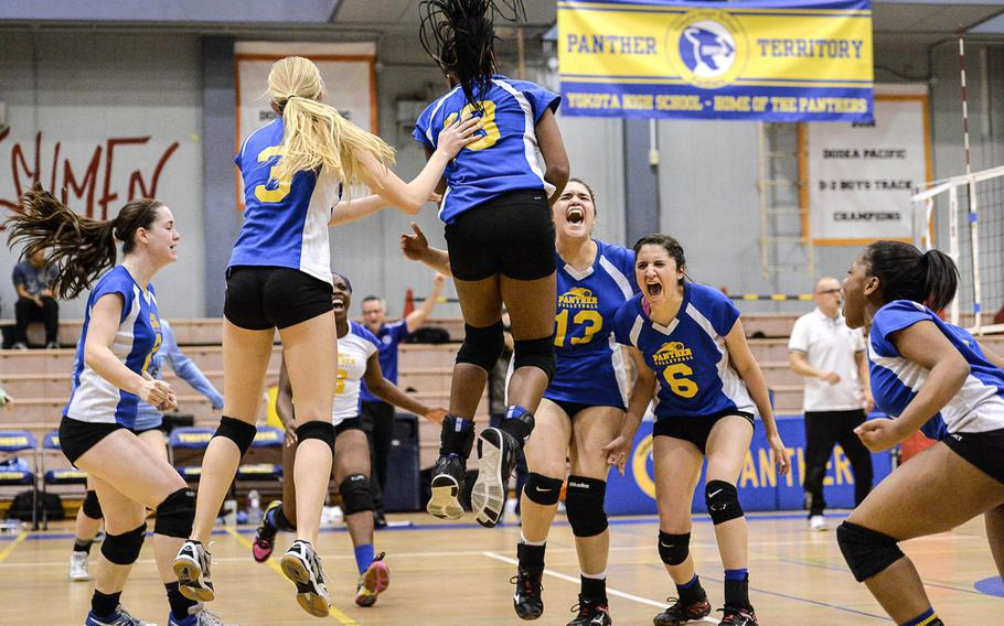 Celebration time at Capps Gym. Yet another one for Yokota, which captured a Pacific-best 12 Far East Division II championships in 2016, giving the Panthers 18 total since becoming a small school in November 2014. Riding a wave of four transfers, Ashlyn Yevcha from Idaho, Britney Bailey from Vicenza, Italy, and sisters Irene and Adrianna Diaz and of New Mexico, the Panthers girls celebrate their 25-11, 25-23, 25-23 triumph over Zama American in the D-II volleyball final.